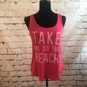 "Old Navy Pink Tank Top"" Take Me To The Beach"""